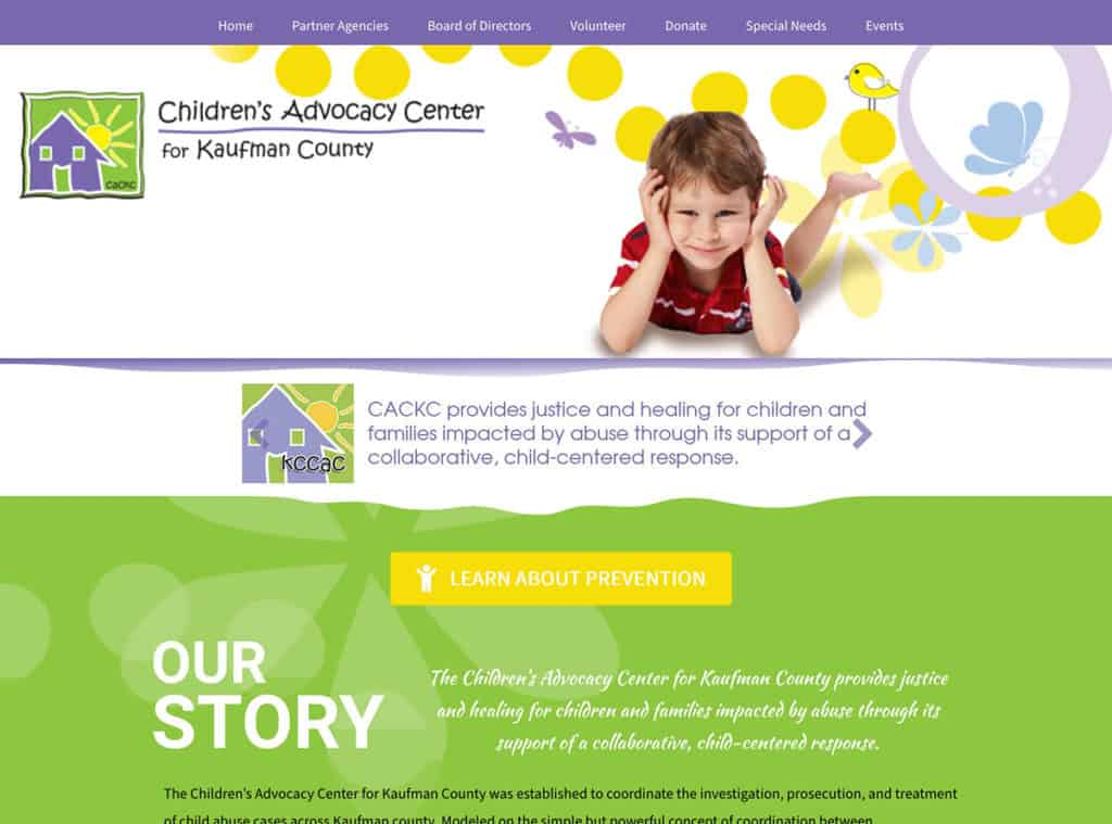 Children's Advocacy Center for Kaufman County Website Header